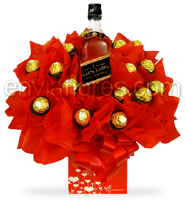 Candy Bouquet Ferrero Rocher con Whisky Black Label