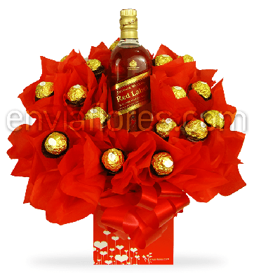 Candy Bouquet Ferrero Rocher con Whisky Red Label