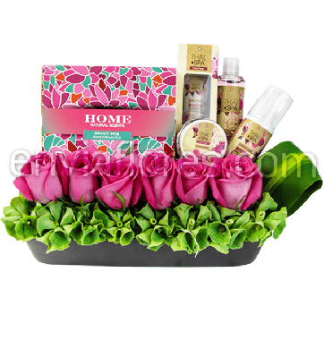 Kit Exotic Flower con Jardín de 6 Rosas Rosa Intenso