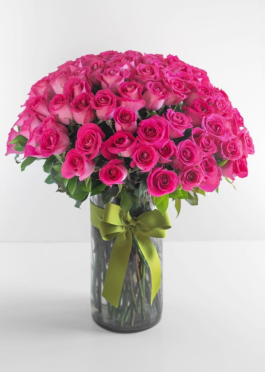 Imagen para 100 Rosas Rosa Intenso en Jarrón - 1