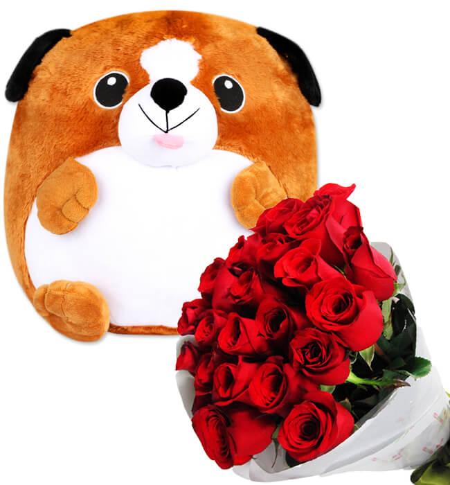 Imagen para Perrito de Peluche con Bouquet de Rosas - 1