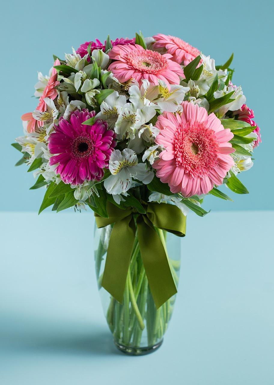 Imagen para 10 Gerberas Rosas y Alstroemerias - 1