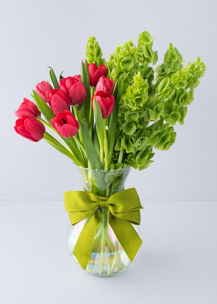 Imagen para 10 tulipanes rojos en jarrón tornasol - 1