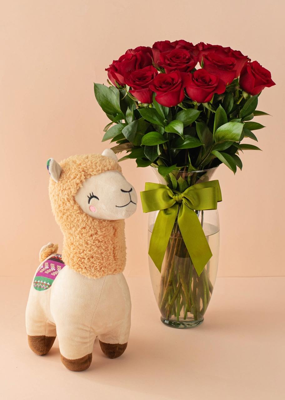 Imagen para 12 Rosas rojas con Llama de Peluche - 1