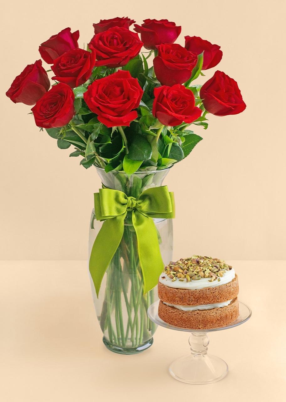 Imagen para 12 rosas rojas con pastel pistache - 1