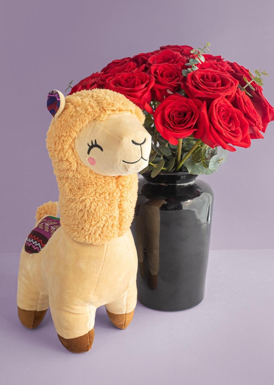 Imagen para 18 Rosas rojas con llama de peluche - 1