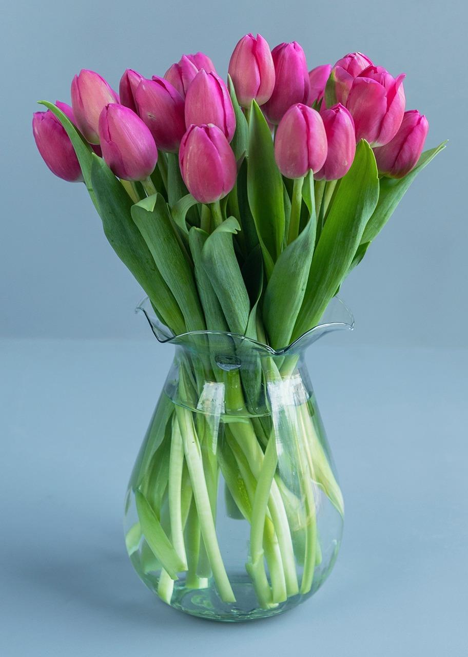 Imagen para 20 Tulipanes Rosas en Jarrón - 1