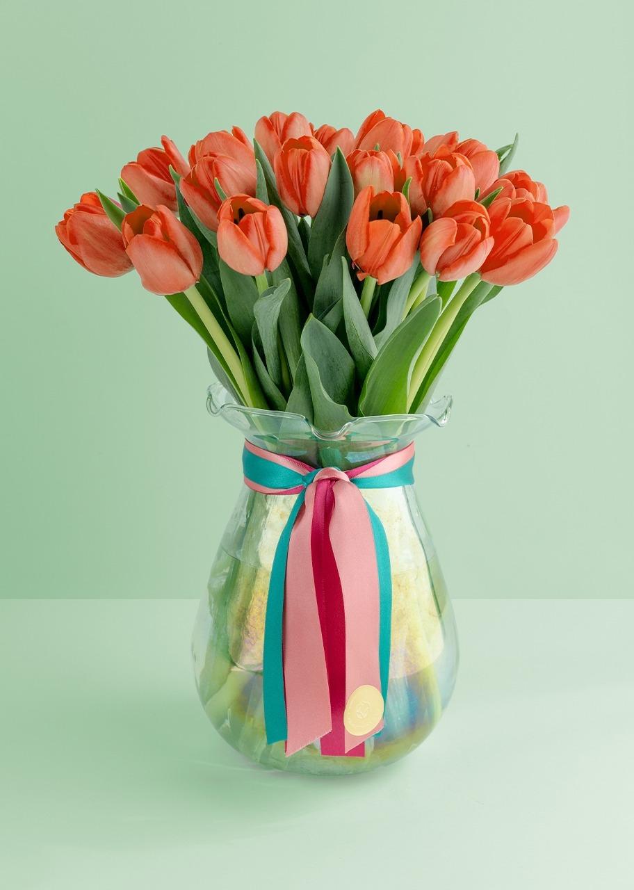Imagen para 20 tulipanes naranjas en jarron - 1