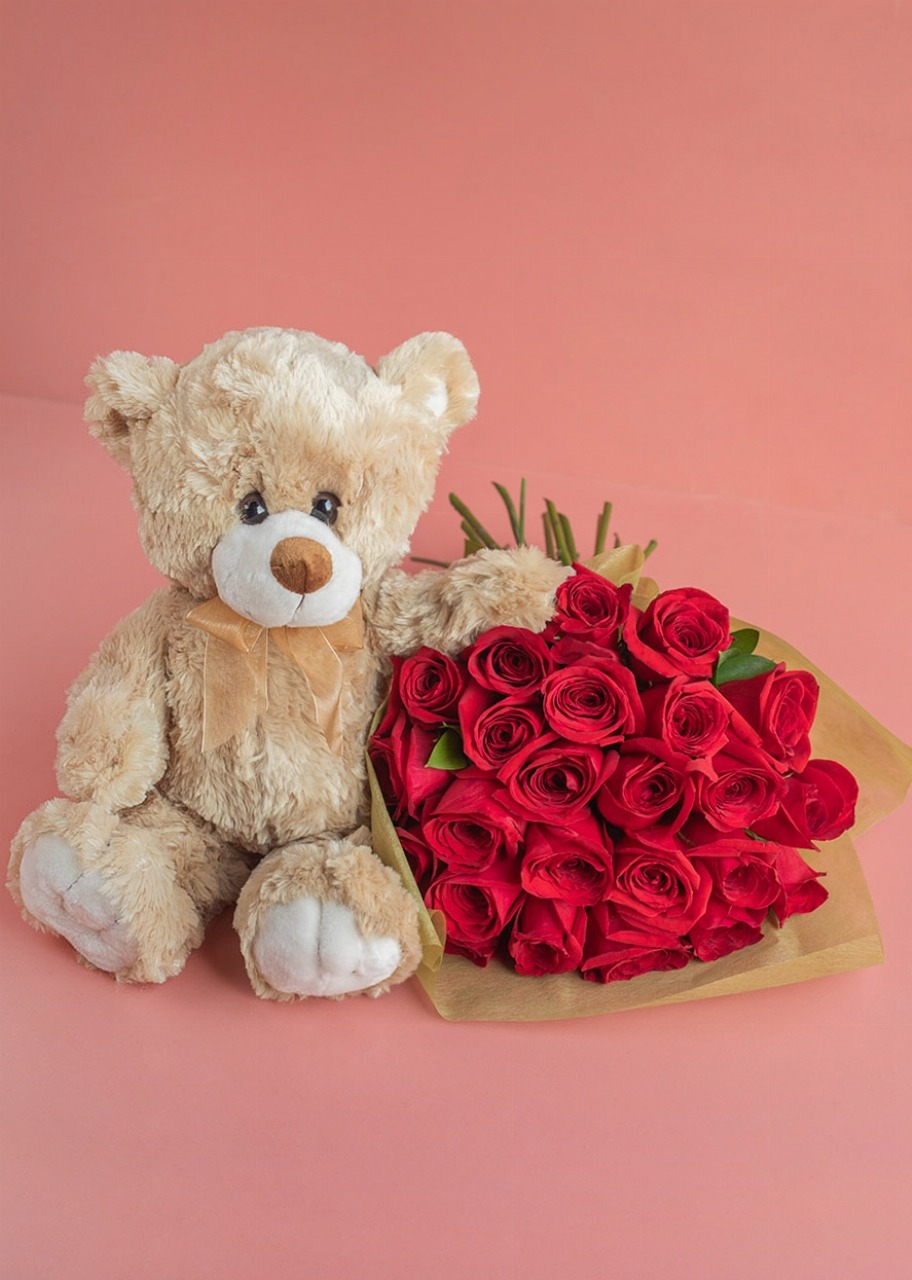 Imagen para 24 rosas rojas con Oso de Peluche 30 cm - 1