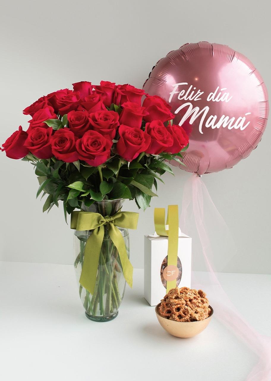 Imagen para 24 Rosas Rojas con Globo y Pretzel - 1