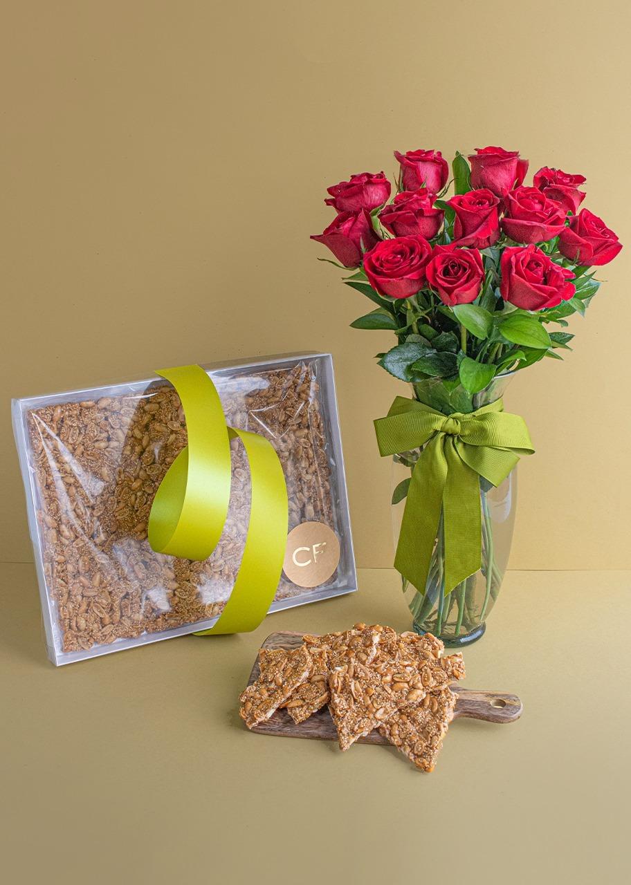 Imagen para Palanqueta de Cacahuate Grande con 12 Rosas - 1