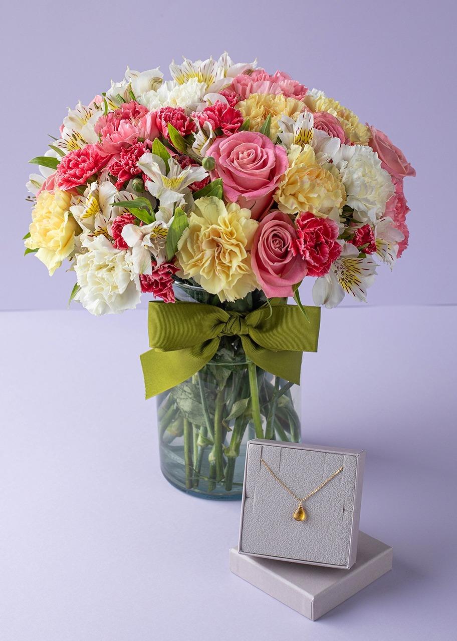 Imagen para Collar de Noviembre con Rosas y Alstroemerias - 1