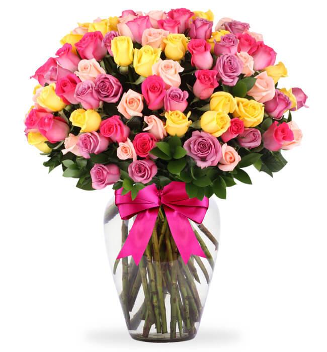 Arreglo De 100 Rosas De Colores En Jarrón