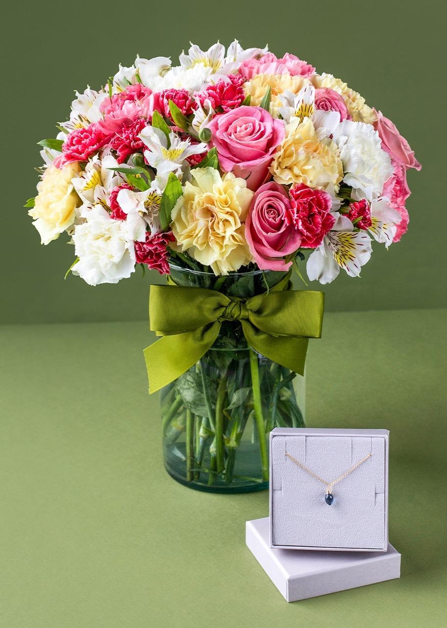 Imagen para Collar de Diciembre con arreglo de flores - 1