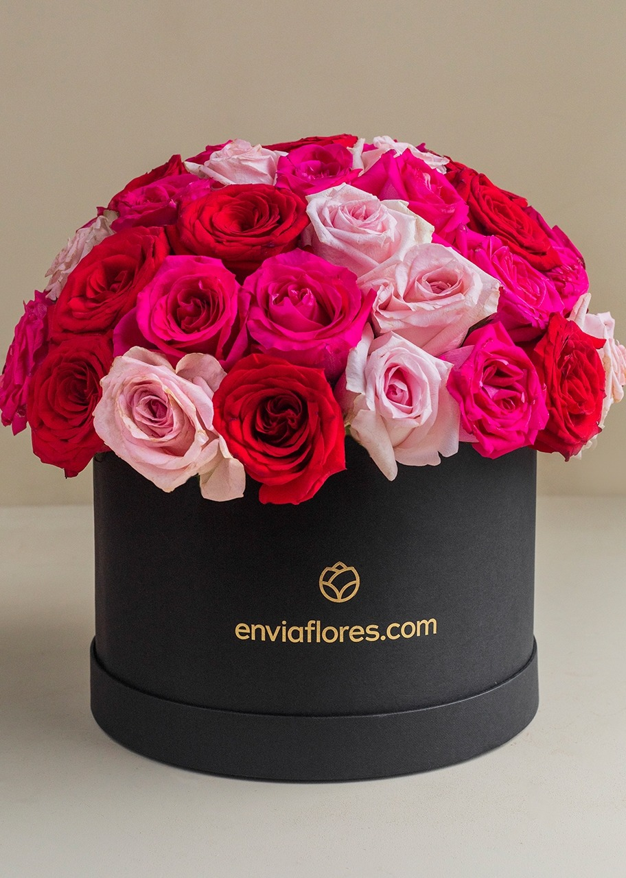 Imagen para 50 red and pink roses in box - 1