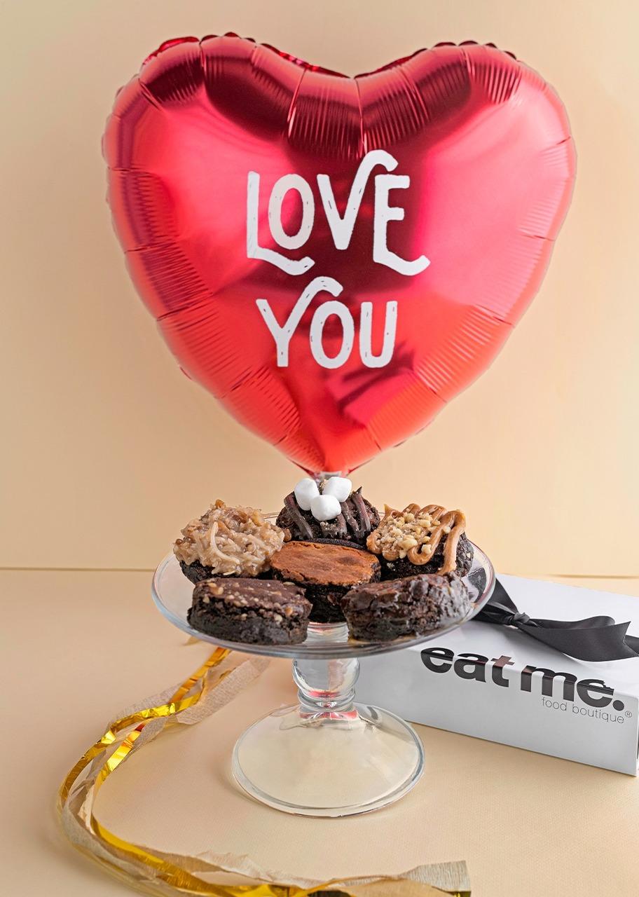 Imagen para Globo de amor con brownies 6 piezas - 1