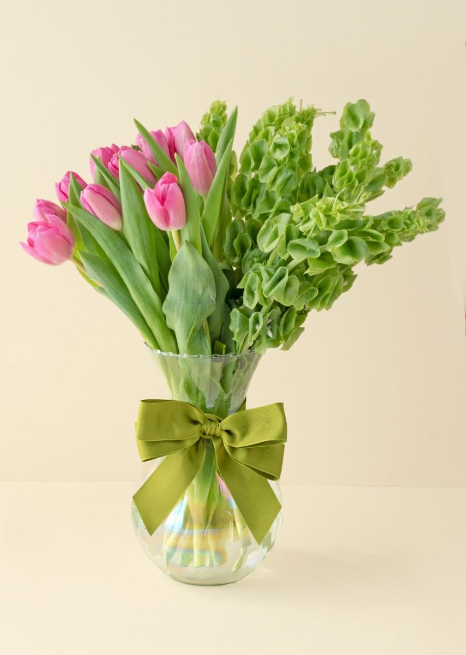 Imagen para 10 tulipanes rosas en jarrón tornasol - 1