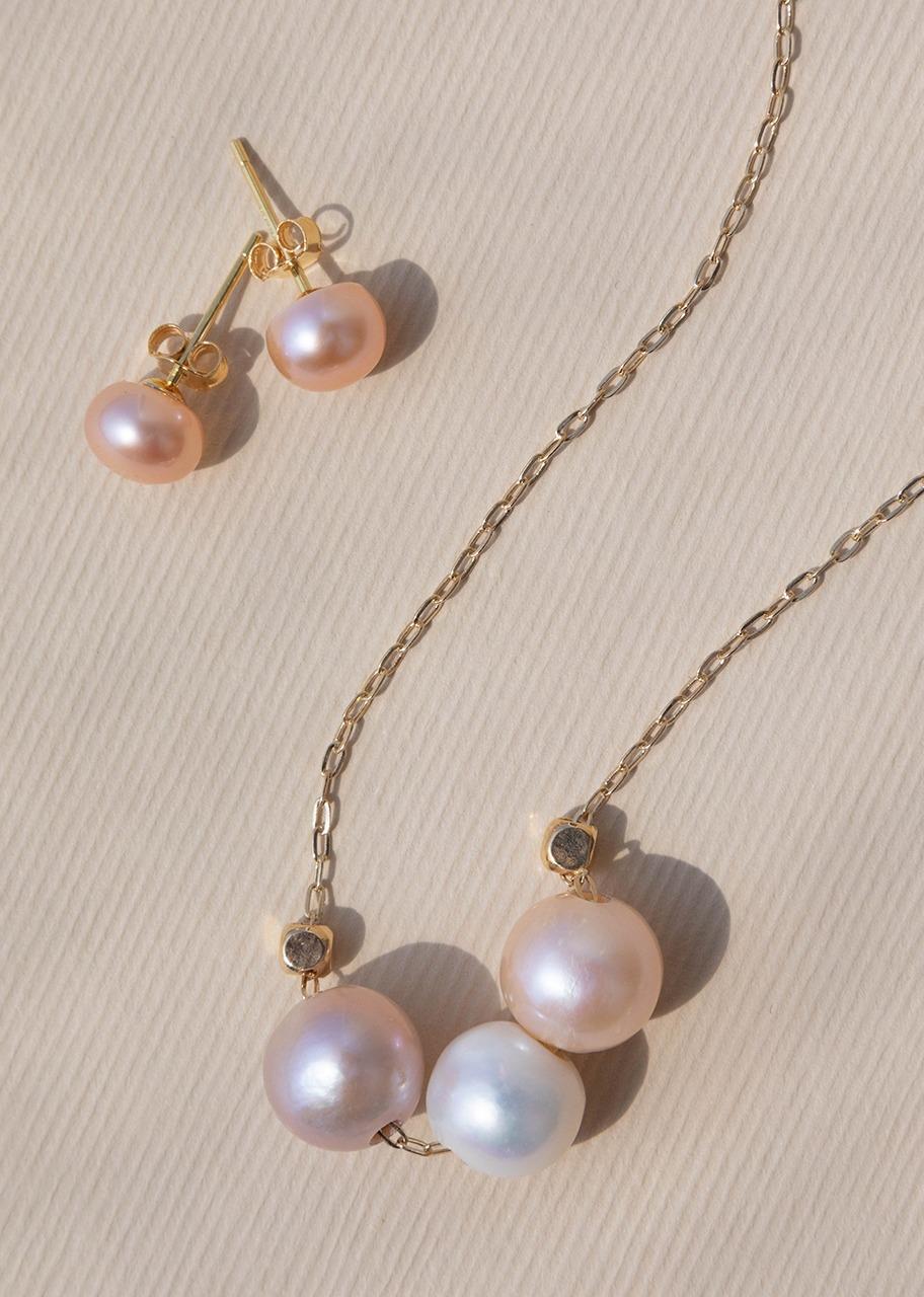 Imagen para Collar 3 perlas con aretes - 1
