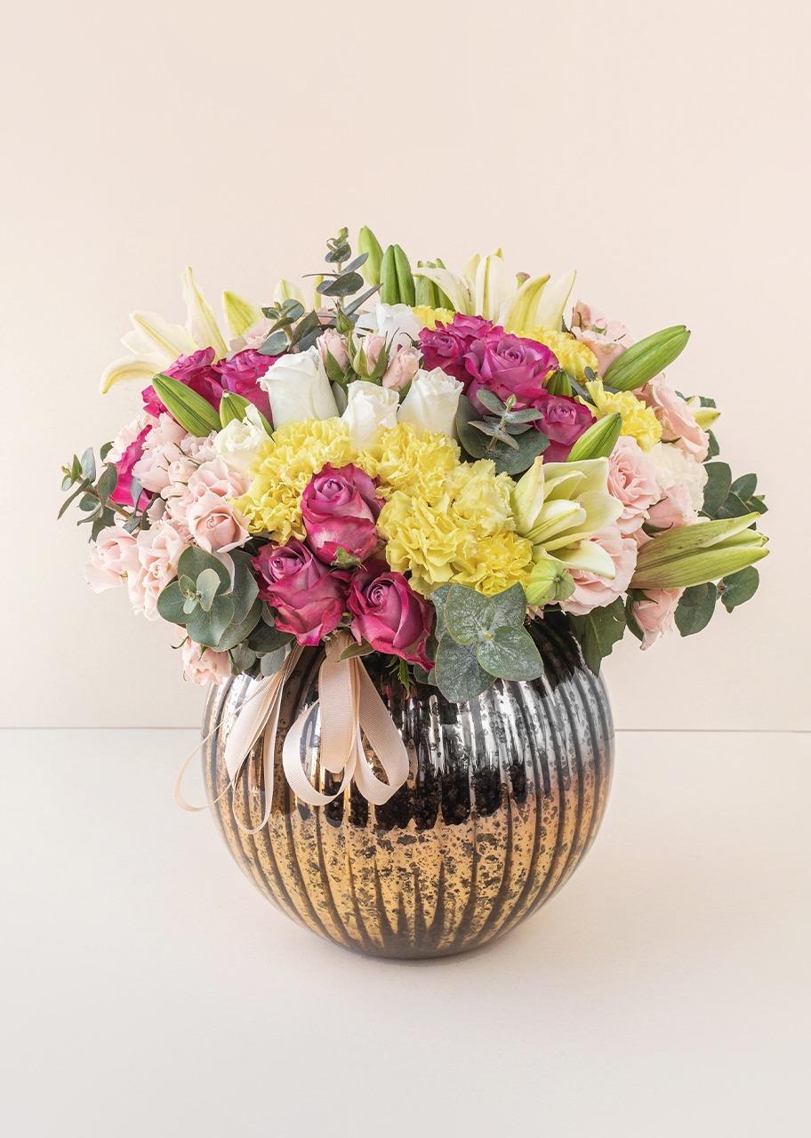 Imagen para Rosas y lilies en Pecera Cobre Jaspeada - 1