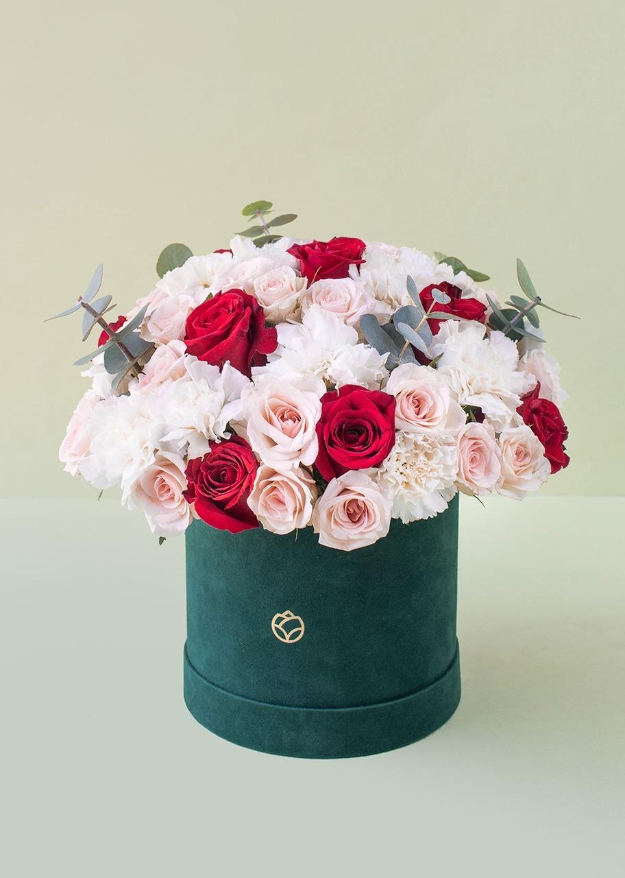 Imagen para Rosas rojas y claveles blancos en caja de terciopelo - 1