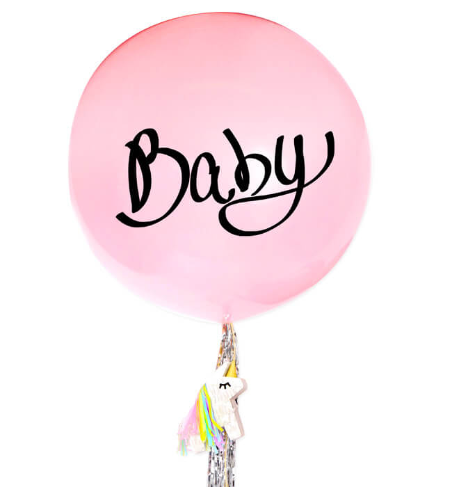 Imagen para Giant Pink Balloon for Baby Girl's Birth with Unicorn Piñata - 1