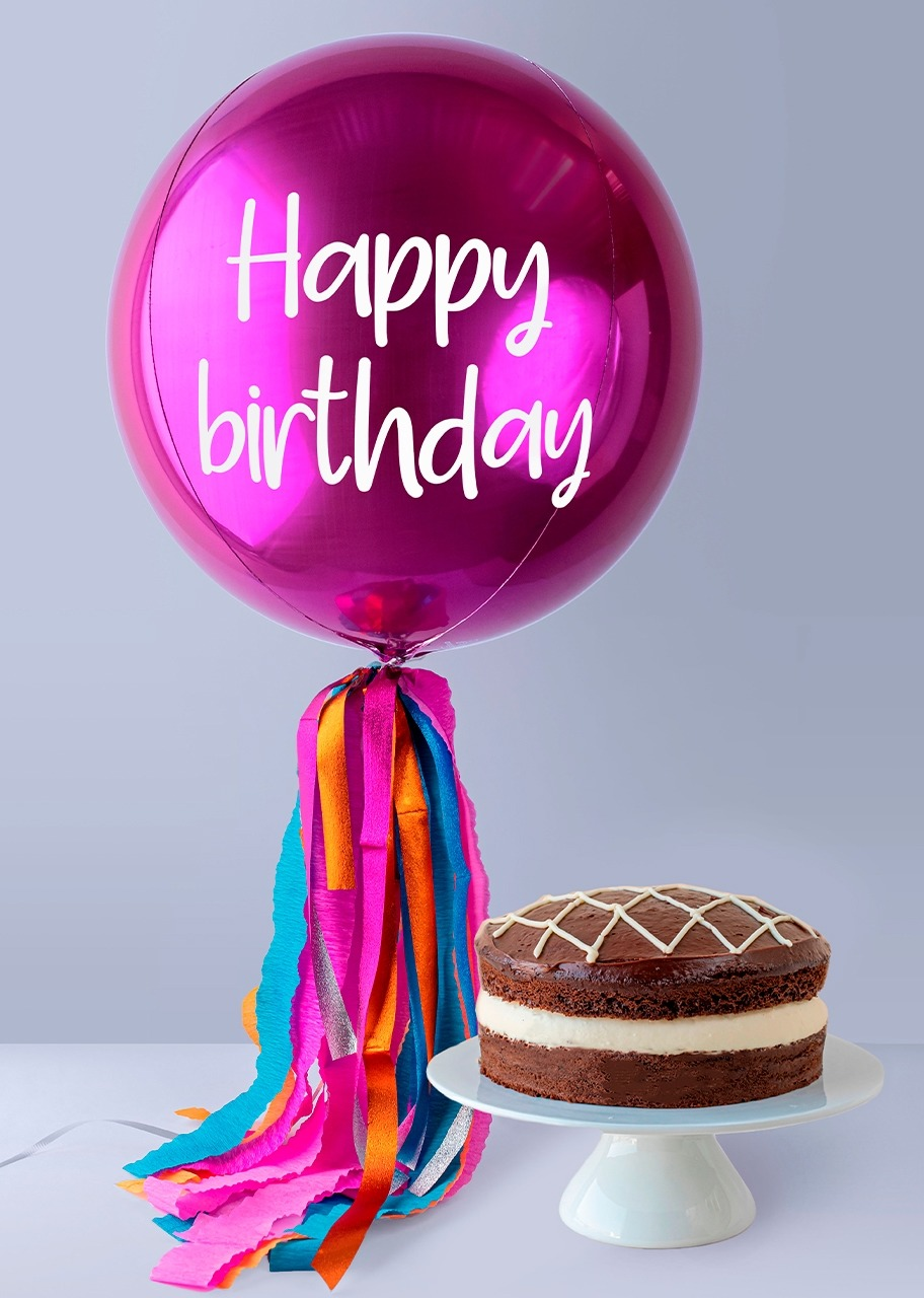 "Imagen para Globo Magenta ""Happy Birthday"" con Pastel Pingüino - 1"