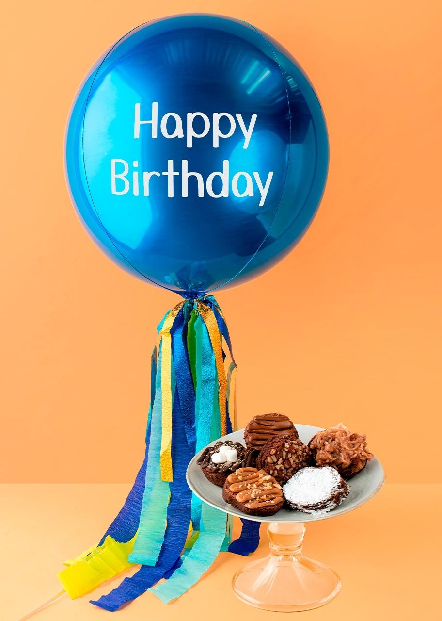 """Imagen para Globo Azul """"Happy Birthday"""" con Brownies Eat Me - 1"""