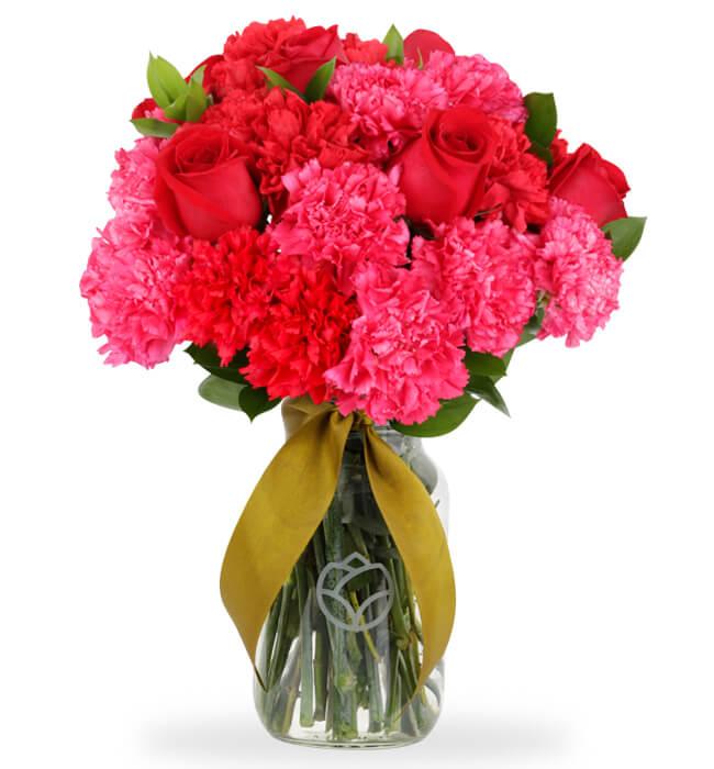 Imagen para 6 Rosas Rojas y Claveles - 1