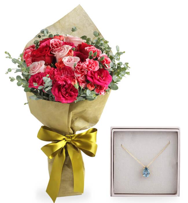 Imagen para Collar con Zirconia y Bouquet de flores - 1