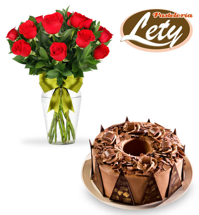 Imagen para 3 Leches Cake with 12 Red Roses  - 1