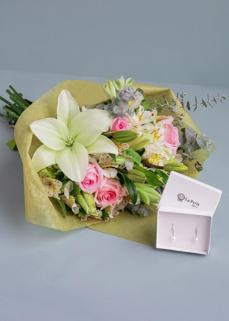 Imagen para Aretes de Perlas con Rosas y Lilys - 1