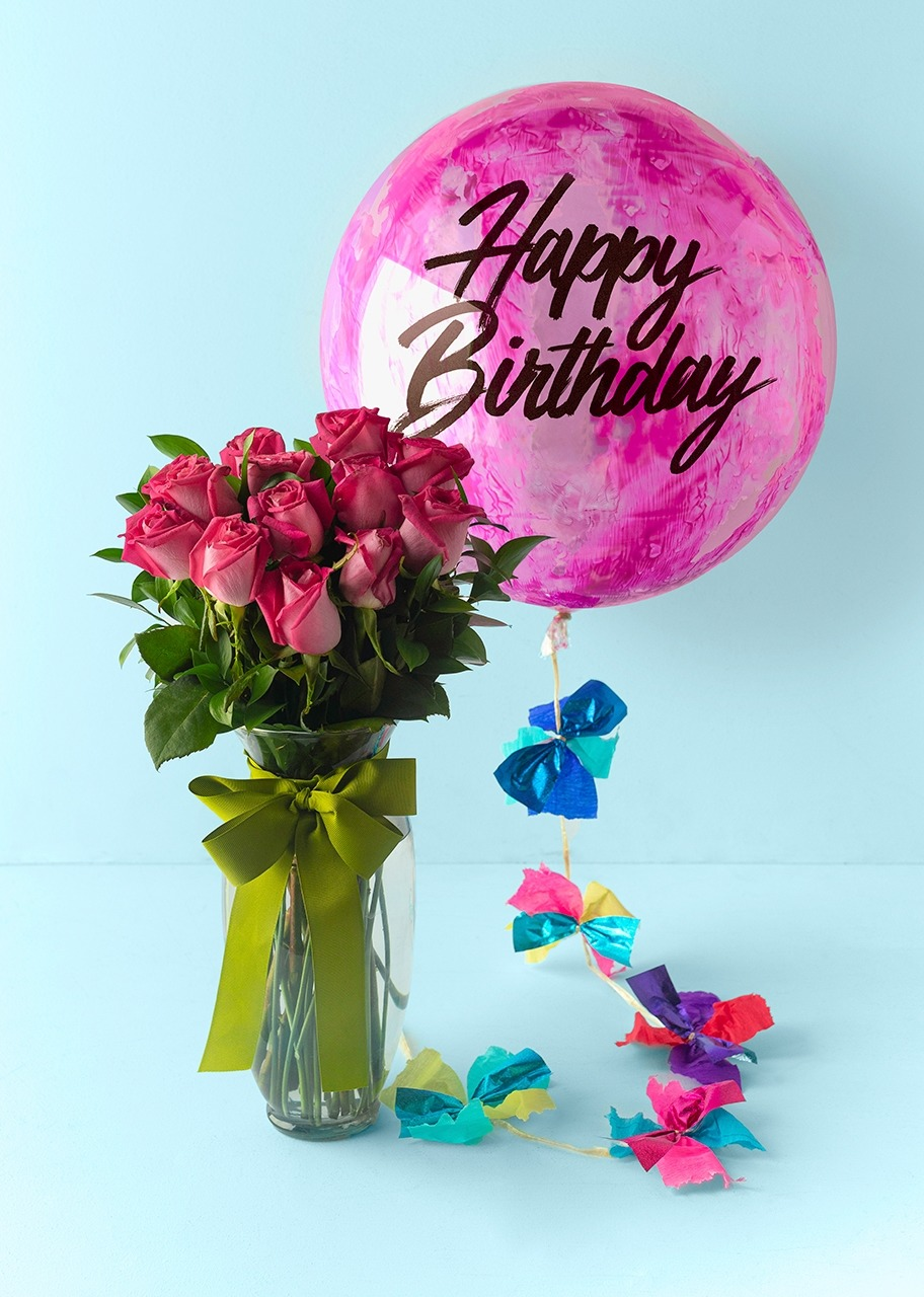 Imagen para 12 Roses and Happy Birthday bubble balloon - 1