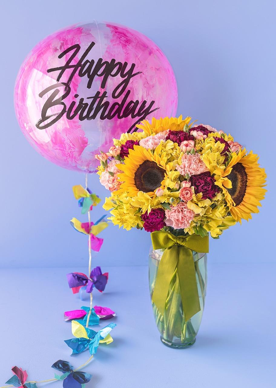 "Imagen para Arrangement of Sunflowers with Bubble Balloon ""Happy Birthday"" - 1"
