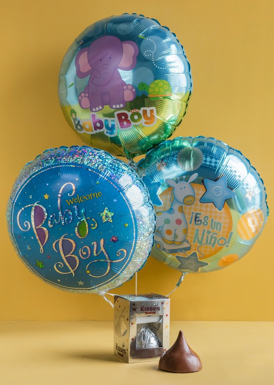 "Imagen para ""Baby Boy"" Balloon Arrangement with Kiss chocolate - 1"
