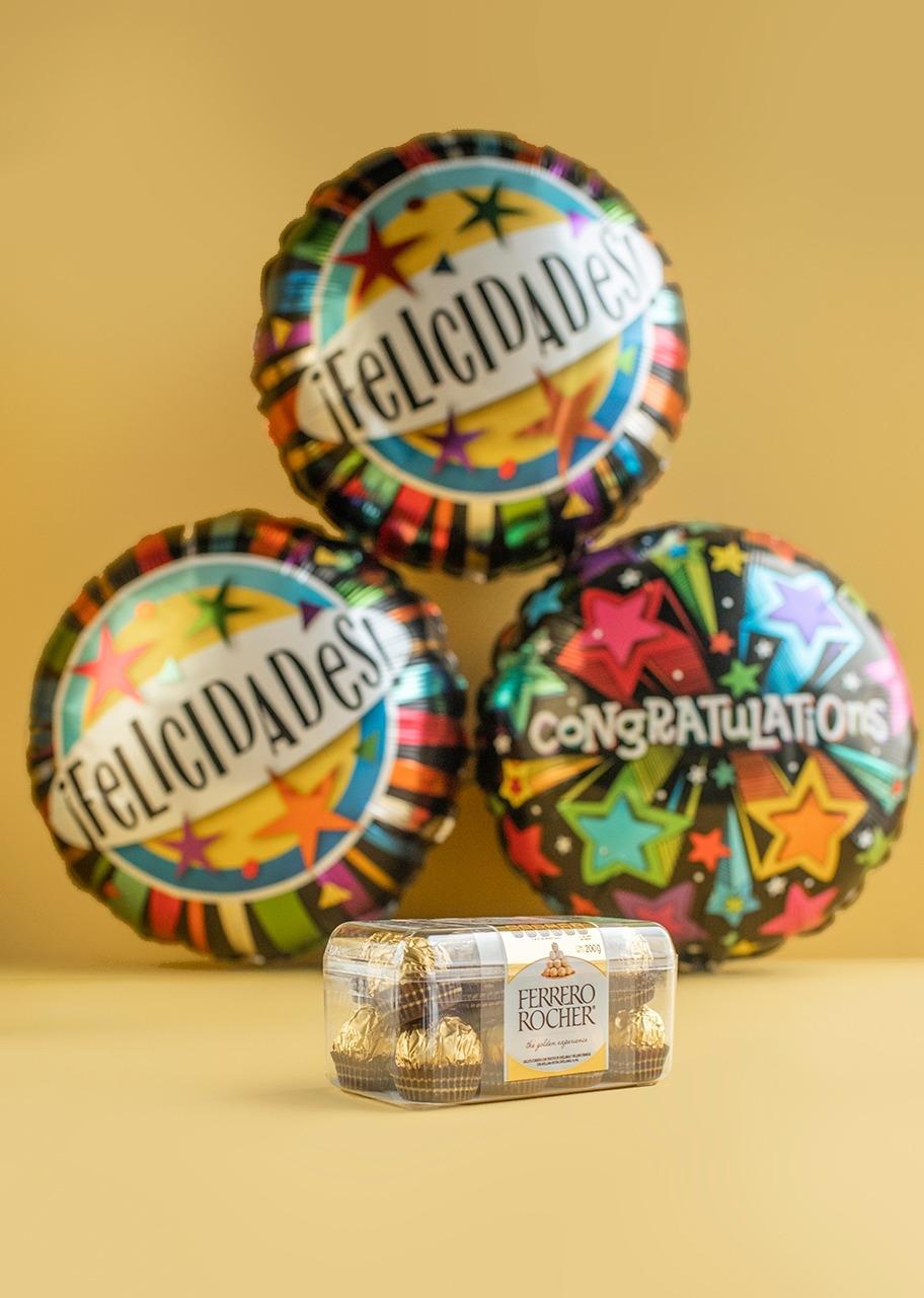 Imagen para Arreglo de Globos Felicidades con Ferrero - 1