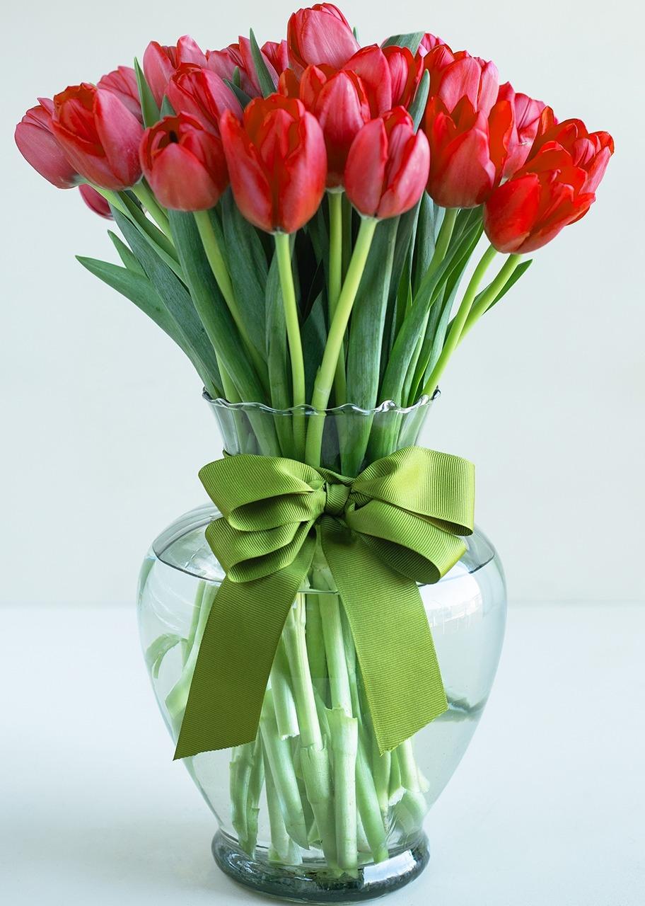 Imagen para Arreglo de Tulipanes Rojos 30 Corazones - 1
