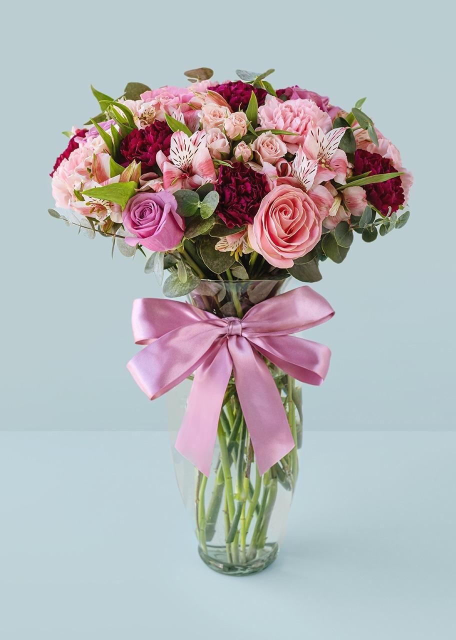 Imagen para Rosas rosas y lilas en jarrón - 1