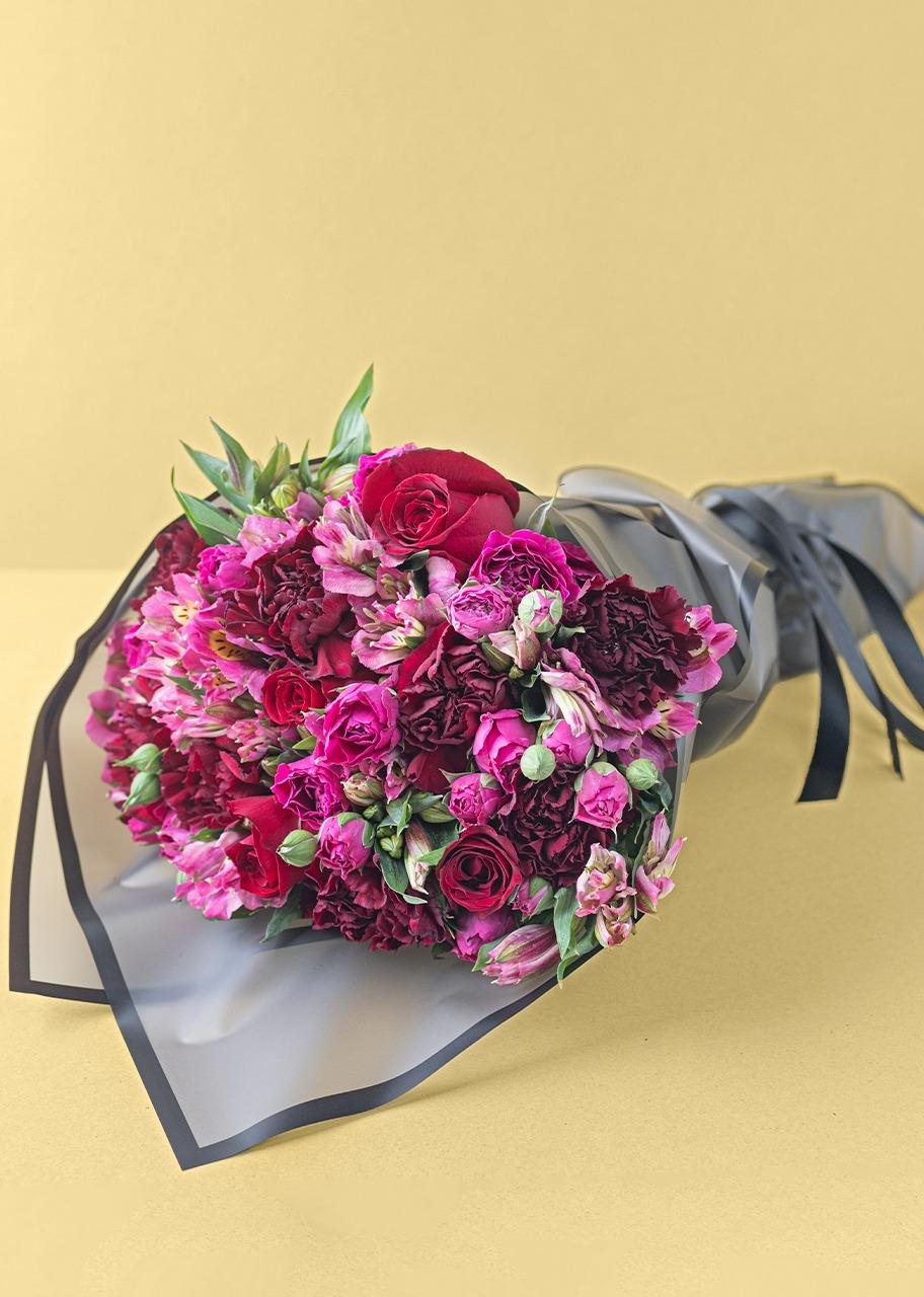 Imagen para Ramo de rosas rojas y mini rosas rosas - 1