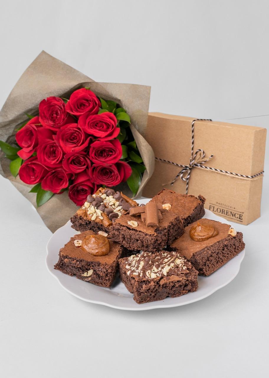 Imagen para Brownie 6 pz con ramo  12 rosas rojas - 1