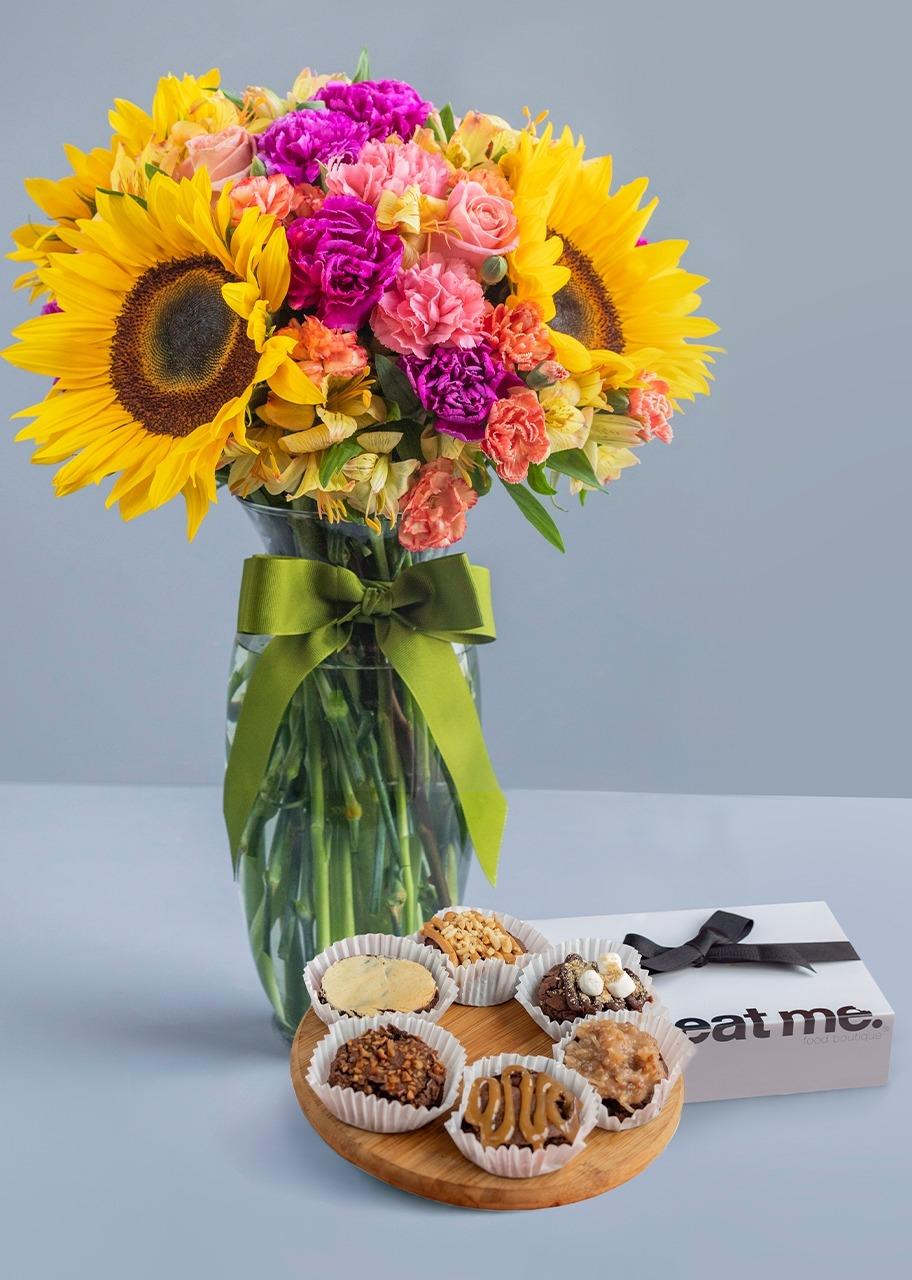 Imagen para Brownies 6 pz con Arreglo de Girasoles - 1