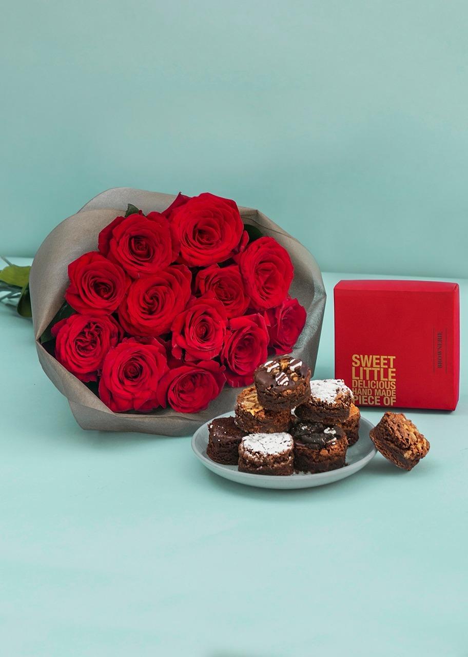 Imagen para Brownies 8 pz con ramo 12 rosas rojas - 1