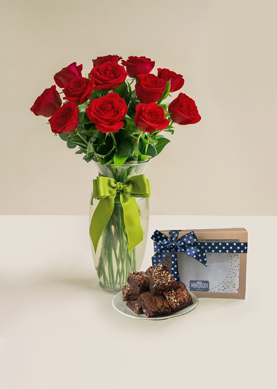 Imagen para Brownies con 12 rosas - 1