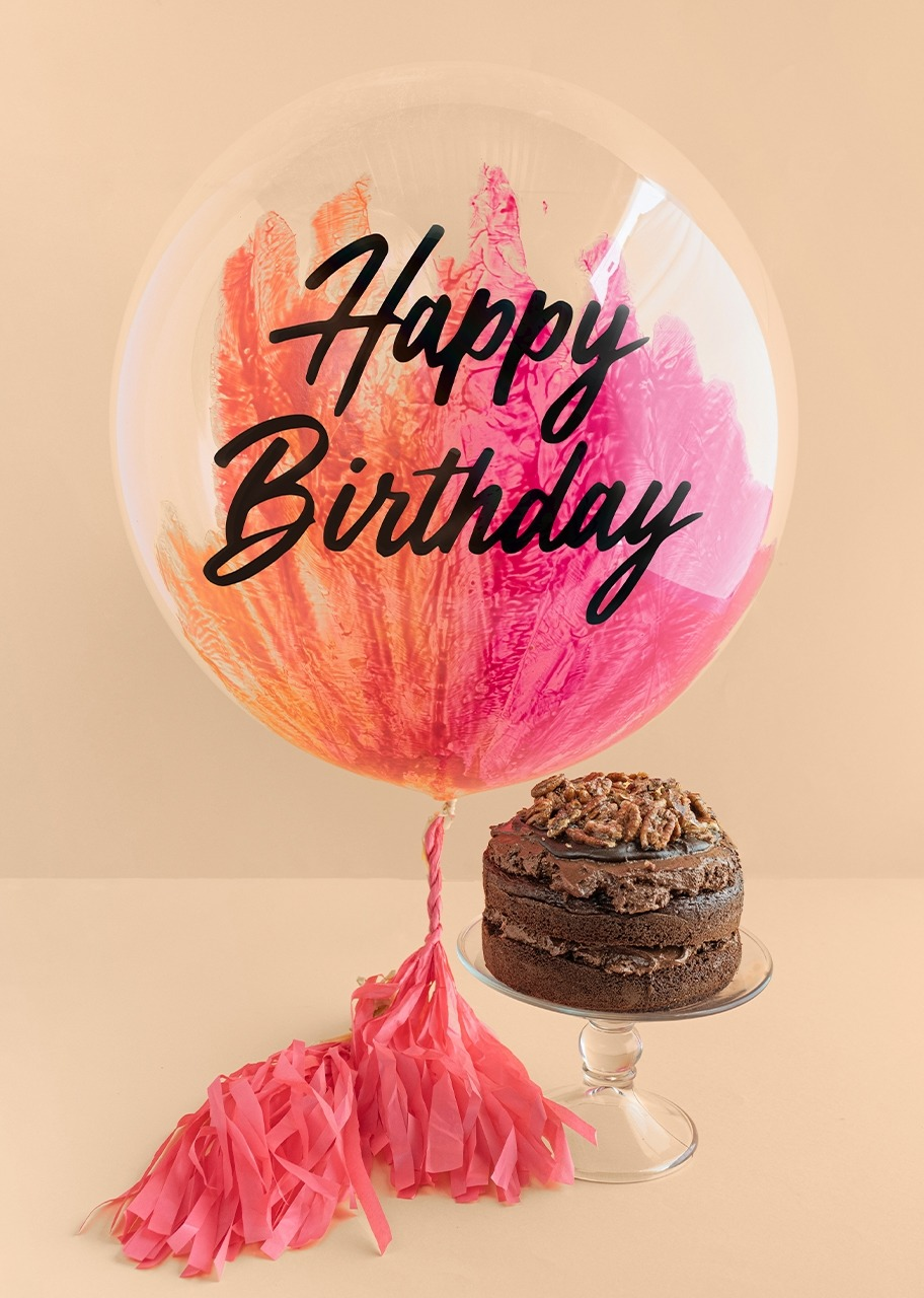 """Imagen para Globo """"Happy birthday"""" Rosa con Pastel de Chocolate - 1"""