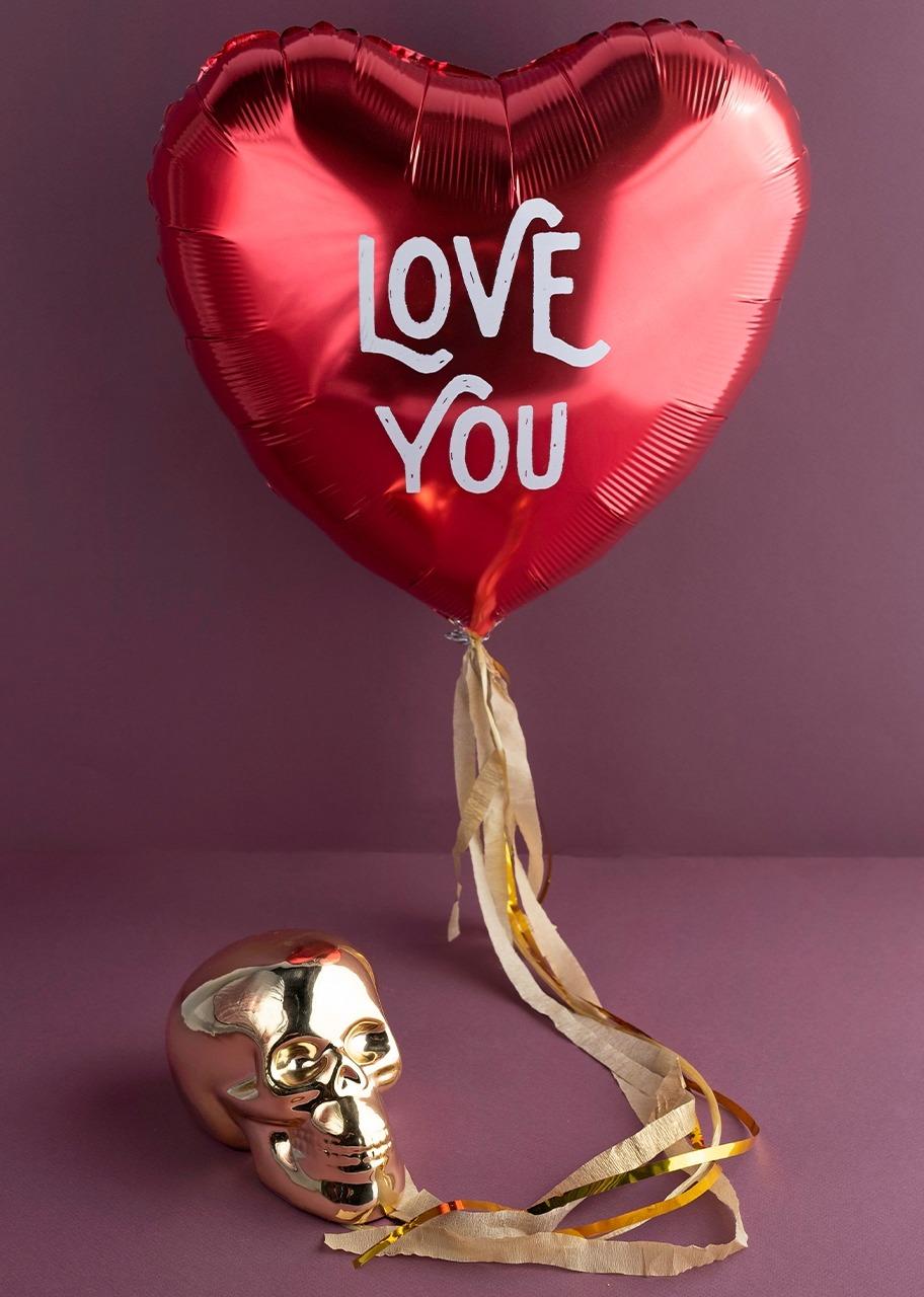 "Imagen para Calavera de cerámica con Globo ""Love You"" - 1"