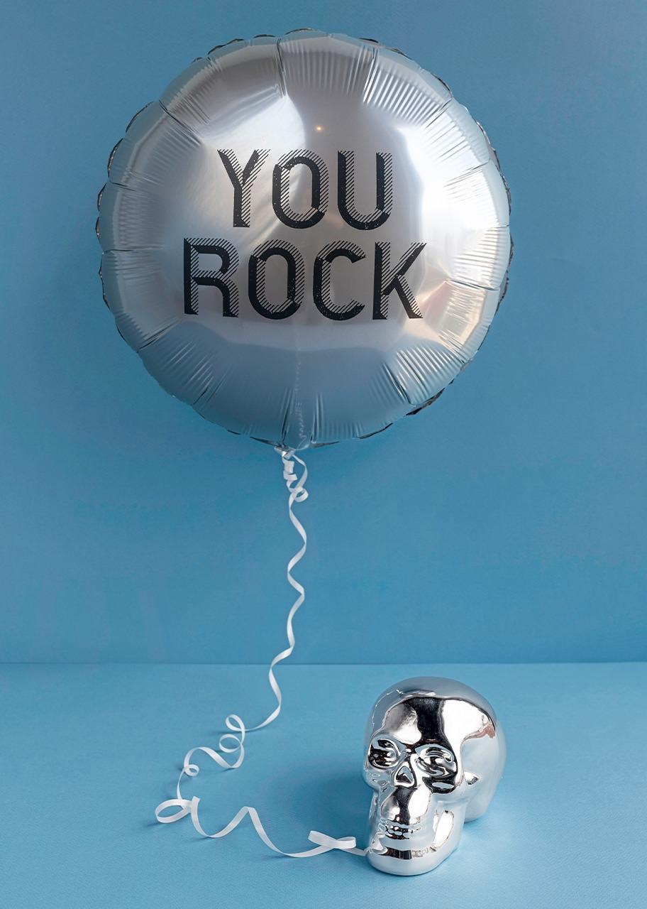 """Imagen para Calavera plateada con Globo """"You Rock"""" - 1"""