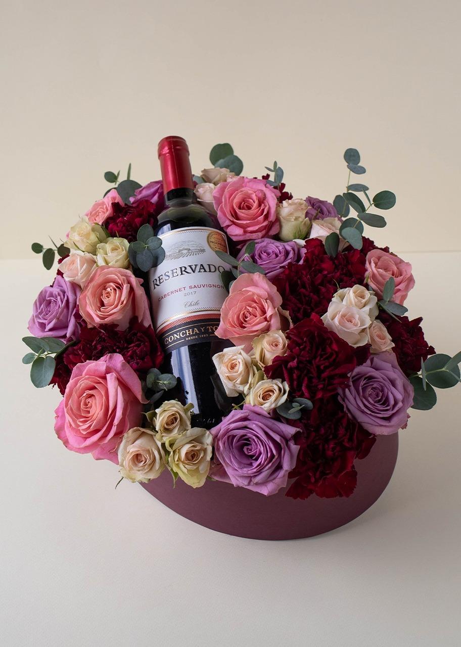 Imagen para Canasta de Rosas y Vino - 1