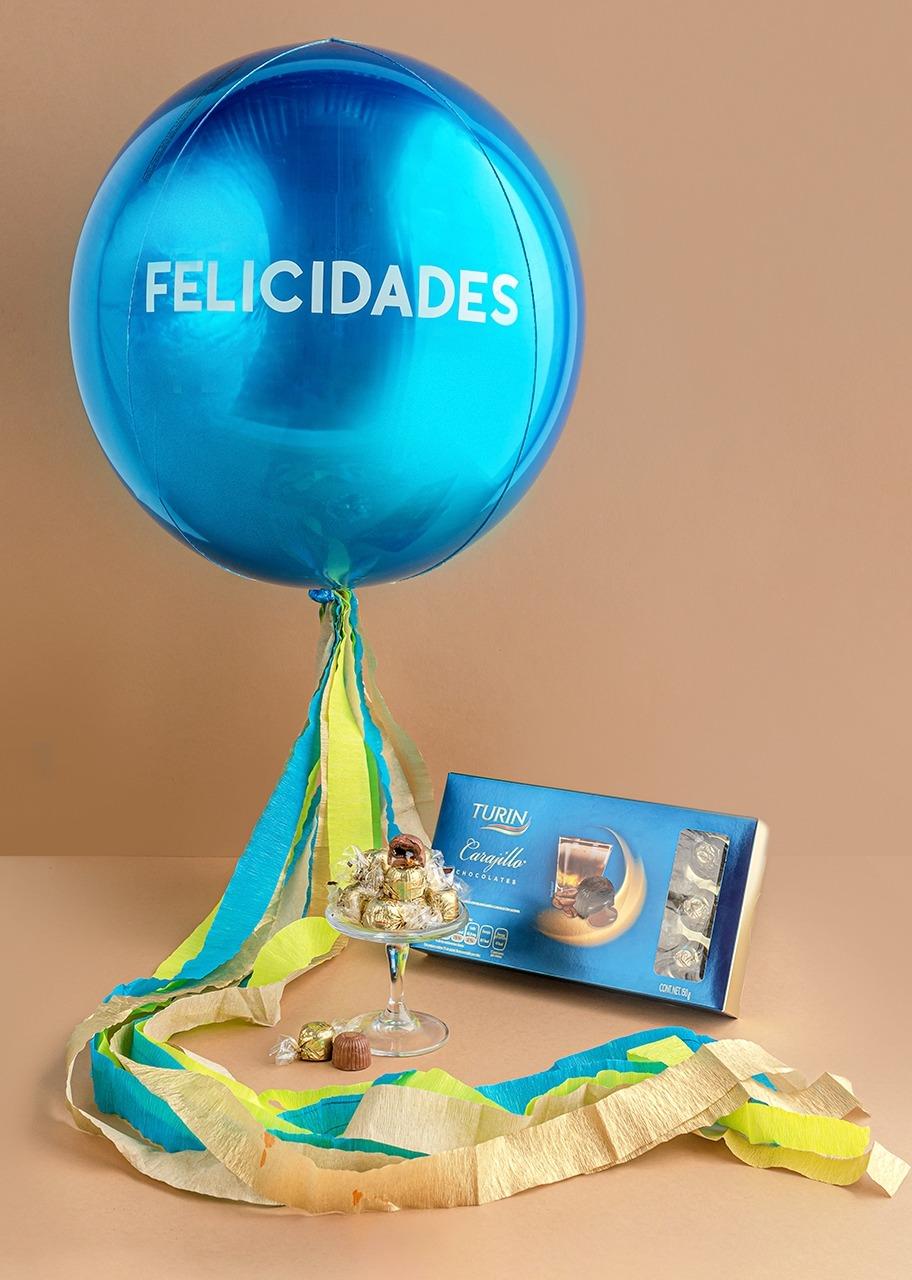 """Imagen para Chocolates Carajillo con Globo """"Felicidades"""" Azul - 1"""