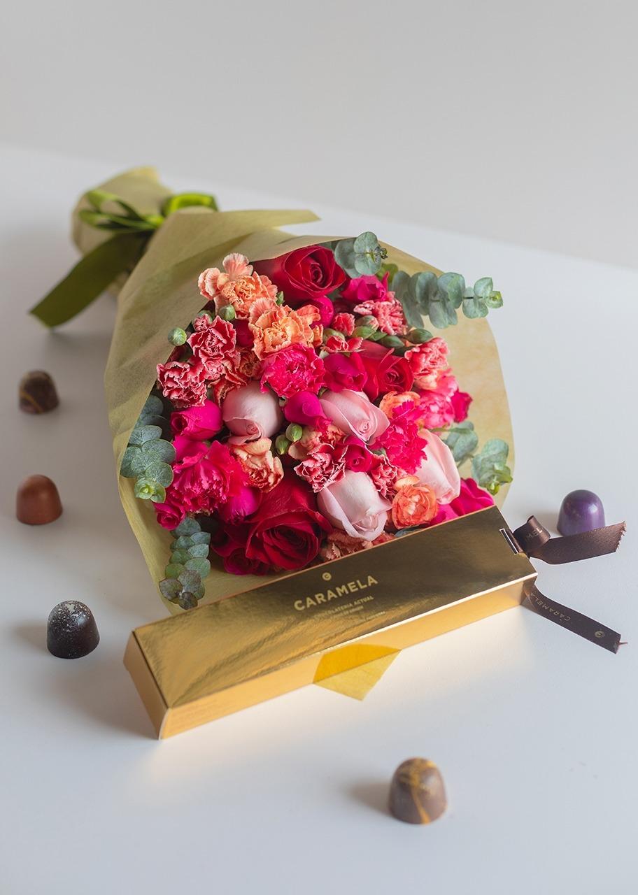 Imagen para Chocolates Gourmet Caramela con Ramo - 1