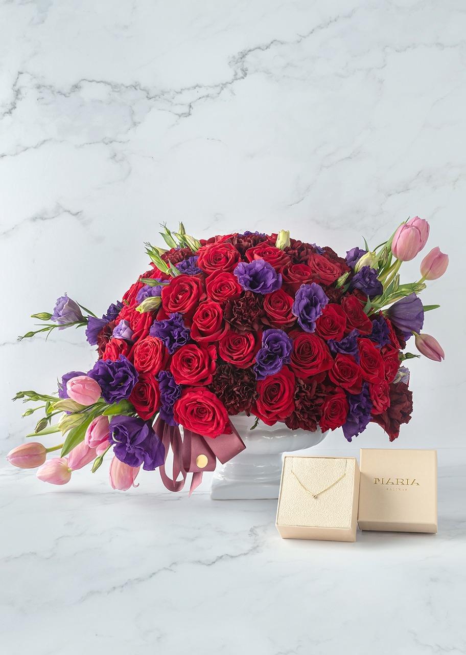 Imagen para Collar de diamante con rosas rojas y tulipanes - 1