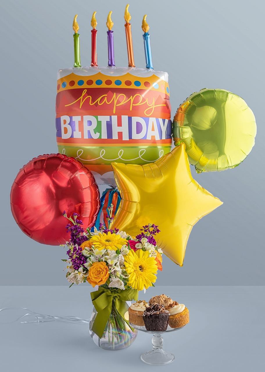 Imagen para Arreglo Feliz Cumpleaños con Gerberas y Muffins Divinata 4 pz - 1